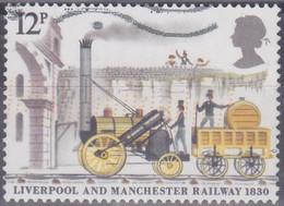 Großbritannien 1980. 150 Jahre Eisenbahnstrecke Liverpool - Manchester, Lokomotive Rocket V. Stephenson, Mi 830 Gebr. - Usados