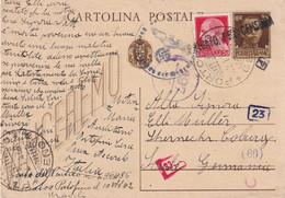 ITALIE 1943 ENTIER POSTAL/GANZSACHE/POSTAL STATIONARY/ GANZSACHE CARTE CENSUREE DE PORTOFINO - Interi Postali
