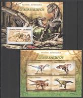 ST1738 2013 S. TOME E PRINCIPE FAUNA AFRICANA PREHISTORIC DINOSAURS KB+BL MNH - Prehistorics