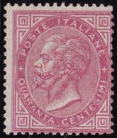 Italia Regno - 085 ** 1863 - V. Emanuele II C. 40 C. Rosa Carminio Tiratura Di Londra N. L.20. Cert. Raybaudi. € 7500, - Neufs