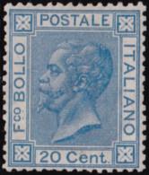 Italia Regno - 087 ** 1865 - V. Emanuele II 20 C. Celeste Chiaro Tiratura Di Londra Con Discreta Centratura. Cert. E. Di - Neufs