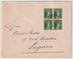 181 Viererblock Auf Brief Gelaufen VonLuzern Nach Lugano Kat. 90.00 - Covers & Documents