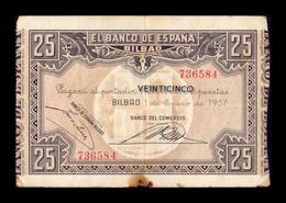 España Spain Guerra Civil War 25 Pesetas Bilbao 1937 Pick S563b BC/+ F+ - 25 Pesetas