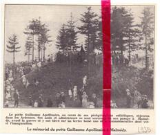 Orig. Knipsel Coupure Tijdschrift Magazine - Malmédy - Mémorial Du Poète Guillaume Apollinaire - 1935 - Zonder Classificatie