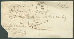 Devant De Bande D'imprimée De DUFFEL (type 18) Du 13-VII + Man.Servicevers Mechelen - Port De 3 Décimes. TB - 1718 - 1830-1849 (Unabhängiges Belgien)