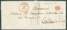 LAC De BEERNEM Le 25 Septembre 1841 + Càd BRUGES Et Griffe SR Vers Eecke; Taxée 4 Décimes. TB - 17186 - 1830-1849 (Unabhängiges Belgien)
