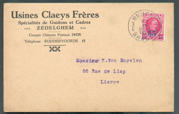 Houyoux 35c. S/40c. Obl. Sc BRUGGE 3 Sur Carte Ill.(Usines CLAEYS Frères ZEDELGHEM - Guidons Et Cadre De Vélos) Du 27-IV - 1922-1927 Houyoux