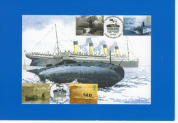 The Titanic Tragedy  -  R.M.S. Titanic  Sets Sail - Submarine Vanguard Class  -  Carte Postale Moderne - Steamers