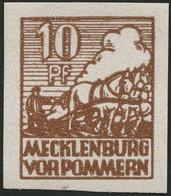MECKLENBURG-VORPOMMERN 35xa **, 1946, 10 Pf. Lebhaftsiena, Kreidepapier, Pracht, Mi. 30.- - Soviet Zone
