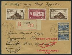 ZULEITUNGSPOST 189 BRIEF, Frankreich: 1932, 8. Südamerikafahrt, Einschreibbrief, Pracht - Zeppelin