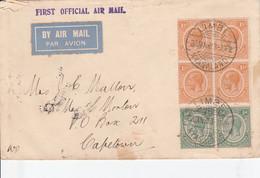 Nyasaland, Cover, GVR, 1 1/2d Block + 2x 1/2d 1st OFFICIAL AIRMAIL LIMBE 22 JAN 23 > CAPE TOWN - Nyassaland (1907-1953)