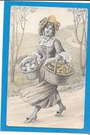 Illustration - Jolie Femme Se Promenant Aves Deux Paniers D'oeufs Et Poussins - Women