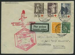 ZULEITUNGSPOST 226B BRIEF, Finnland: 1933, 6. Südamerikafahrt, Anschlussflug Ab Berlin, Drucksache, Prachtbrief - Zeppelin