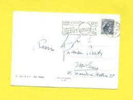 TARGHETTE-STORIA POSTALE-ANNULLI A TARGHETTA-ISOLATI SU CARTOLINA-MARCOFILIA- SIRACUSANA-SANREMO - 1946-60: Poststempel