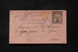 FRANCE - Pneumatique ( Carte Lettre ) Type Chaplain De Paris Pour Paris En 1889 - L 86721 - Neumáticos