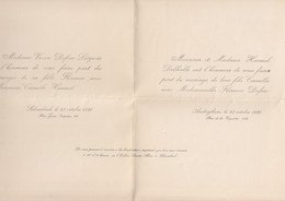 Huwelijksmededeling - Invitation De Mariage - Defise / Harmelle / Delhalle - Schaarbeek / Oudergem - 1920 - Huwelijksaankondigingen