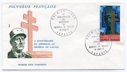 RC 19921 POLYNESIE GÉNÉRAL DE GAULLE 1977 SUR ENVELOPPE 1er JOUR FDC TB - De Gaulle (General)