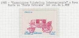 """Vaticano - 1985 - Esposizione Filatelica """"Carrozza Spostata""""  1v (rif. 784a Rif. Cat. Unificato) - Errors & Oddities"""