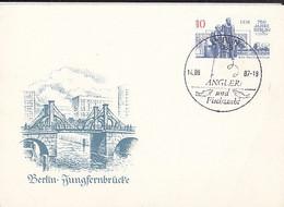 BERLIN JUNGFERN BRIDGE, FISHING SPECIAL POSTMARK, PC STATIONERY, ENTIER POSTAL, 1987, GERMANY - Postales - Usados