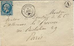 1866- Enveloppe De BEZENET ( Allier ) Cad T15 Affr. N°22 Oblit. G C 4388 - 1849-1876: Classic Period