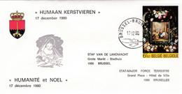 Enveloppe 1996 Human Kerstvieren Humanité Et Noël Etat-major De La Force Aérienne Staf Van De Landmacht - Cartas