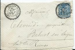 FRANCE- LETTRE TYPE SAGE - Timbre à Date CELLES  SUR COURCE ( état ) - 1849-1876: Klassieke Periode