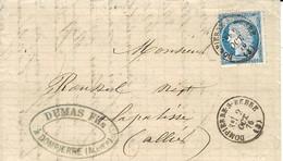 1876- Lettre De Dompierre-S-BEBRE  ( Allier )  Affr. N°60 Oblit. Cad T16 - 1849-1876: Klassieke Periode