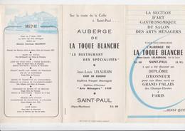 Menu - L'Auberge De La Toque Blanche - Saint-Paul - Alpes-Maritimes - 1959 - Menus