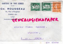 75- PARIS- ENVELOPPE GANTERIE CH. ROUSSEAU -50 RUE ENGHIEN-A PIERRE PERUCAUD MEGISSERIE ST SAINT JUNIEN-1924 - Ohne Zuordnung