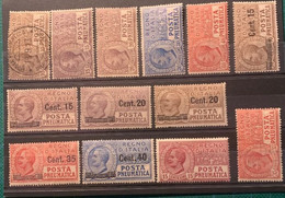 ITALIE - 1913 -1924- PNEUMATIQUE N° 1 à 13 Neufs Fortes Charnières - Cote 93€ - - Nuevos