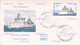 Saint Pierre & Miquelon Enveloppe 1er Jour 1991 - Bateau De Cryos Navire Océanographique - FDC