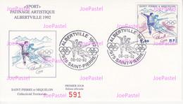 Saint Pierre & Miquelon Enveloppe 1er Jour 1992 - J.O. Albertville Le Patinage Artistique - FDC
