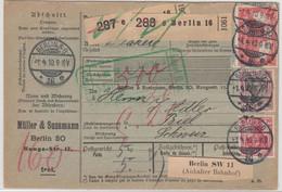 DR - 1 M. Reichspostamt U.a. Paketkarte/2 Pakete I.d. SCHWEIZ, Berlin SO16, 1910 - Storia Postale