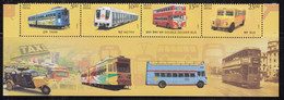 India MNH 2017,  Means Of Transport, Strip Of 4 /Se-tenent, Public, With Bottom Tab, Tram, Bus, Train, Metro, - Unused Stamps