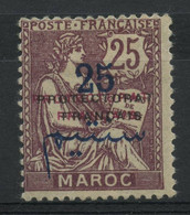 Maroc N 45c (charniere) Double Surcharge Protectorat Noire + Rouge - Unclassified