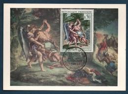France Carte Maxi Du YT 1376 Delacroix Lutte De Jacob Et De L'Ange St Maurice Seine FDC 1er Jour - Covers & Documents