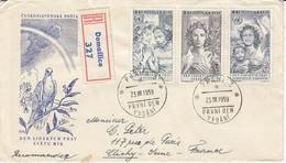 Tchécoslovaquie , FDC Recommandé De 1959 ,N° 1009/1011 , Pour La France , Vignettes Au Dos ,2 Scans - Cartas