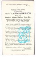 DP Elise Vandermersch / Bigo ° Wervicq Wervik 1882 † Melle 1945 - Devotieprenten