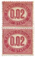 Lotto Coppia Francobolli Di Stato 0,02 Centesimi 1875 (C) - Neufs