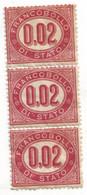 Lotto Tripletta Francobolli Di Stato 0,02 Centesimi 1875 (C) - Neufs