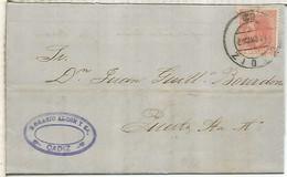 ALFONSO XII DE CADIZ A PUERTO DE SANTA MARIA 1887 MATASELLOS DE LLEGADA COLOR AZUL - Cartas