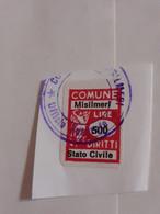 MARCA DA BOLLO DIRITTI DI STATO CIVILE  COMUNE DI MISILMERI  LIRE 500 - Fiscaux