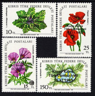"""Northern Cyprus - 1981/83 - Field Flowers - Mint Stamp Set With Overprint """"TRNC 1983"""" - Nuevos"""
