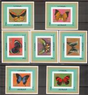 AJMAN  Butterflies Set 7 De Luxe S/Sheets  MNH - Butterflies