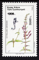 Northern Cyprus - 1990 - Medicinal Plants - Scutellaria Sibthorpii - Mint Stamp Overprinted With New Value - Nuevos
