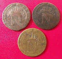 Lot De 3 Pièces Napoleon Empereur. 10 Centimes I W - D. 10 Centimes