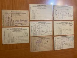 Lot De 8 Cartes - Correspondance Militaire - Carte En Franchise - Militaire Kaarten Met Vrijstelling Van Portkosten