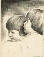 Lithographie Originale De Louis Buisseret - Le Musée Du Livre 1925-1926, Pl. 2 - 3 Scans - Lithographies
