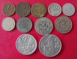 Lot De 11 Pièces De Pologne. 2, 5, 10, 20, 50 Groszy , 2, 5 Zlote. 1923/1992 - Polen