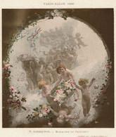 Paris - Salon 1899 - Messagers Du Printemps Par T. Lobrichon - Chérubins  - 2 Scans - Lithographies